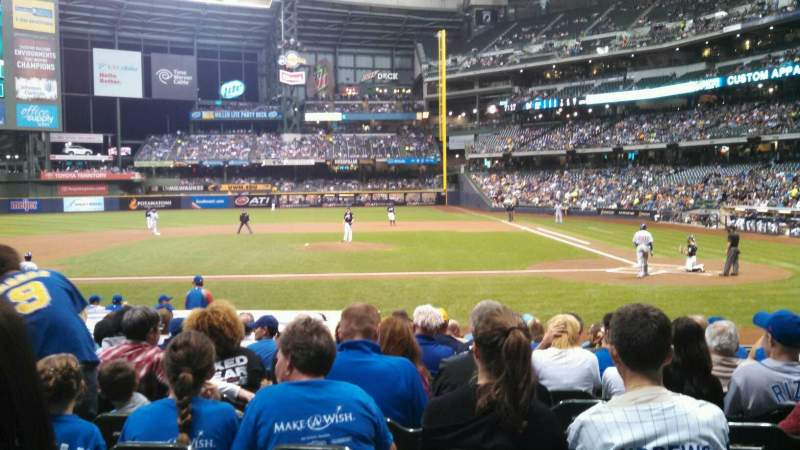 Seating view for Miller Park Section 121 Row 15 Seat 6