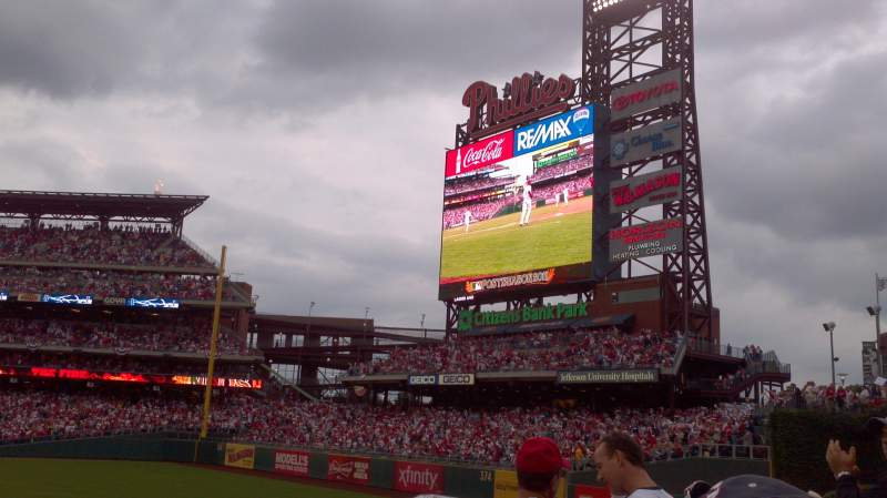 Seating view for Citizens Bank Park Section 102 Row 4 Seat 8