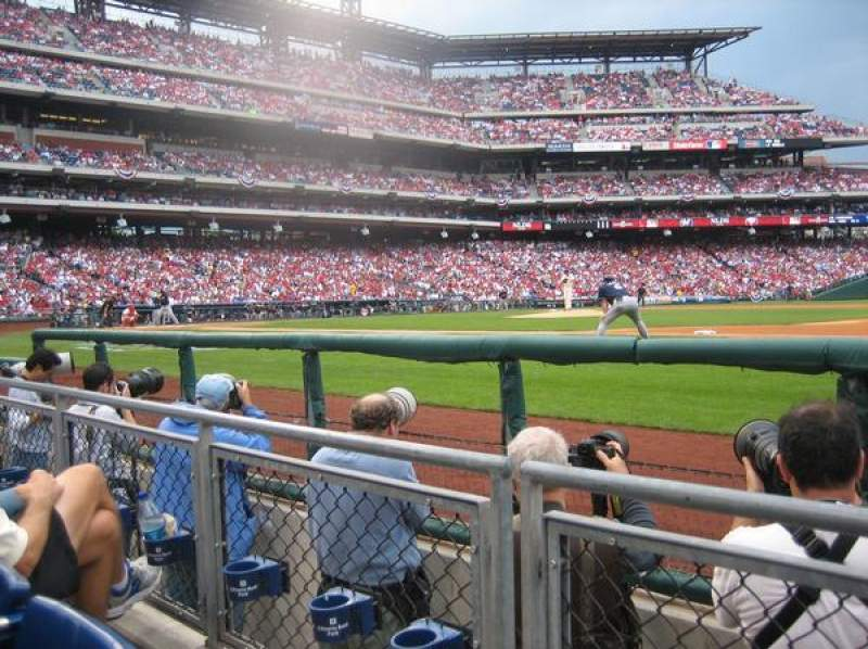 Seating view for Citizens Bank Park Section 115 Row 2 Seat 4