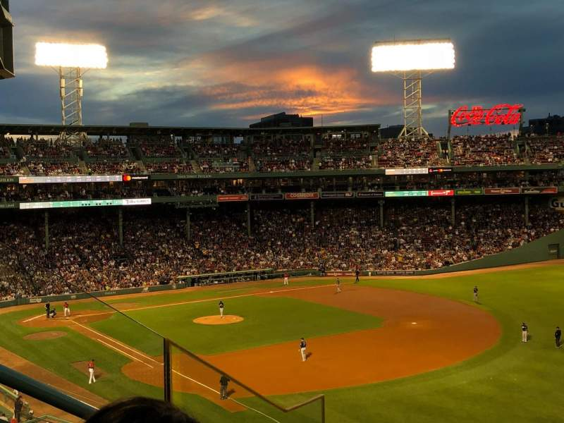 Seating view for Fenway Park Section Right Field Roof Deck Box 23 Row C Seat 5
