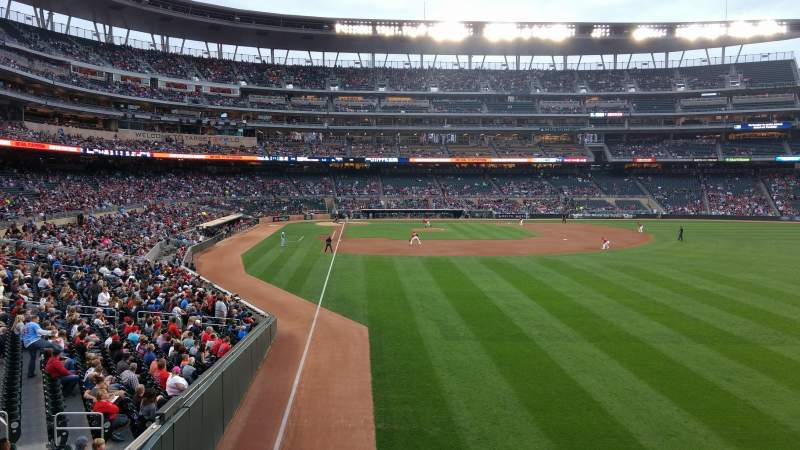 Seating view for Target Field Section 139 Row 1 Seat 13