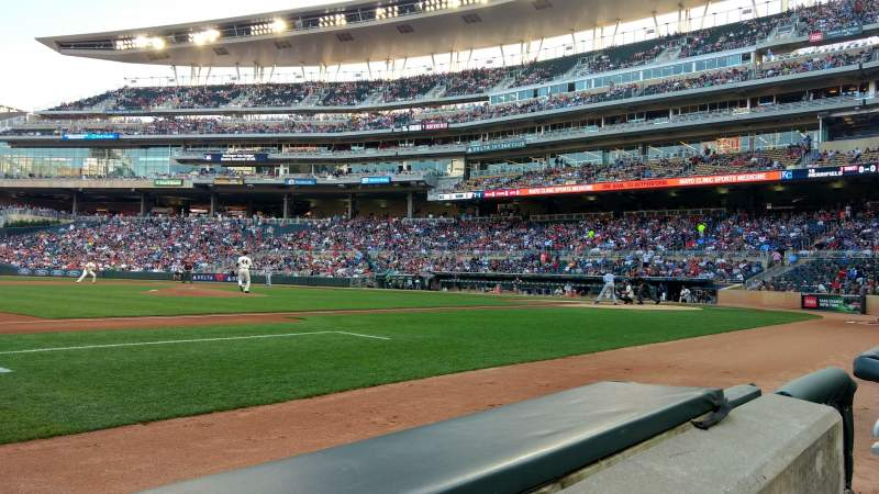 Seating view for Target Field Section 14 Row 1 Seat 8