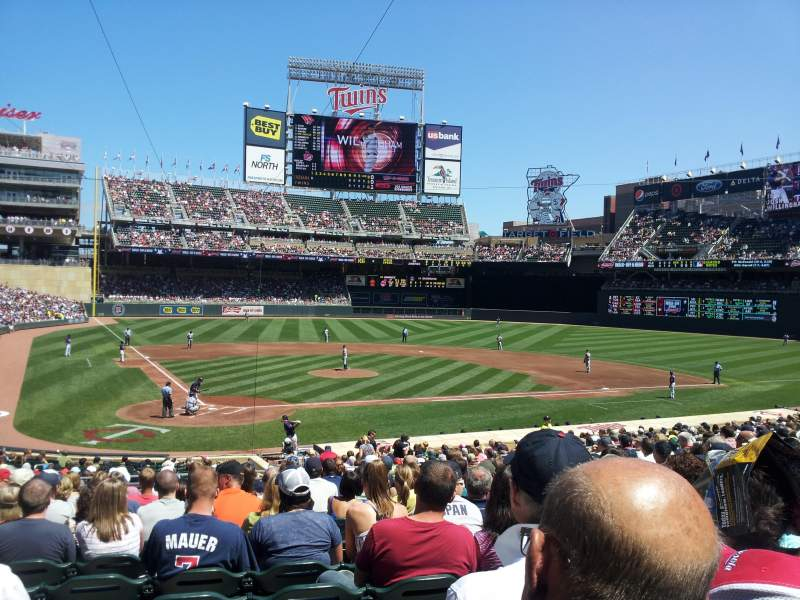 Seating view for Target Field Section 111 Row 13 Seat 9