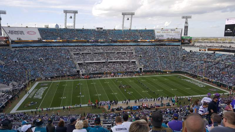Seating view for TIAA Bank Field Section 438 Row N Seat 11