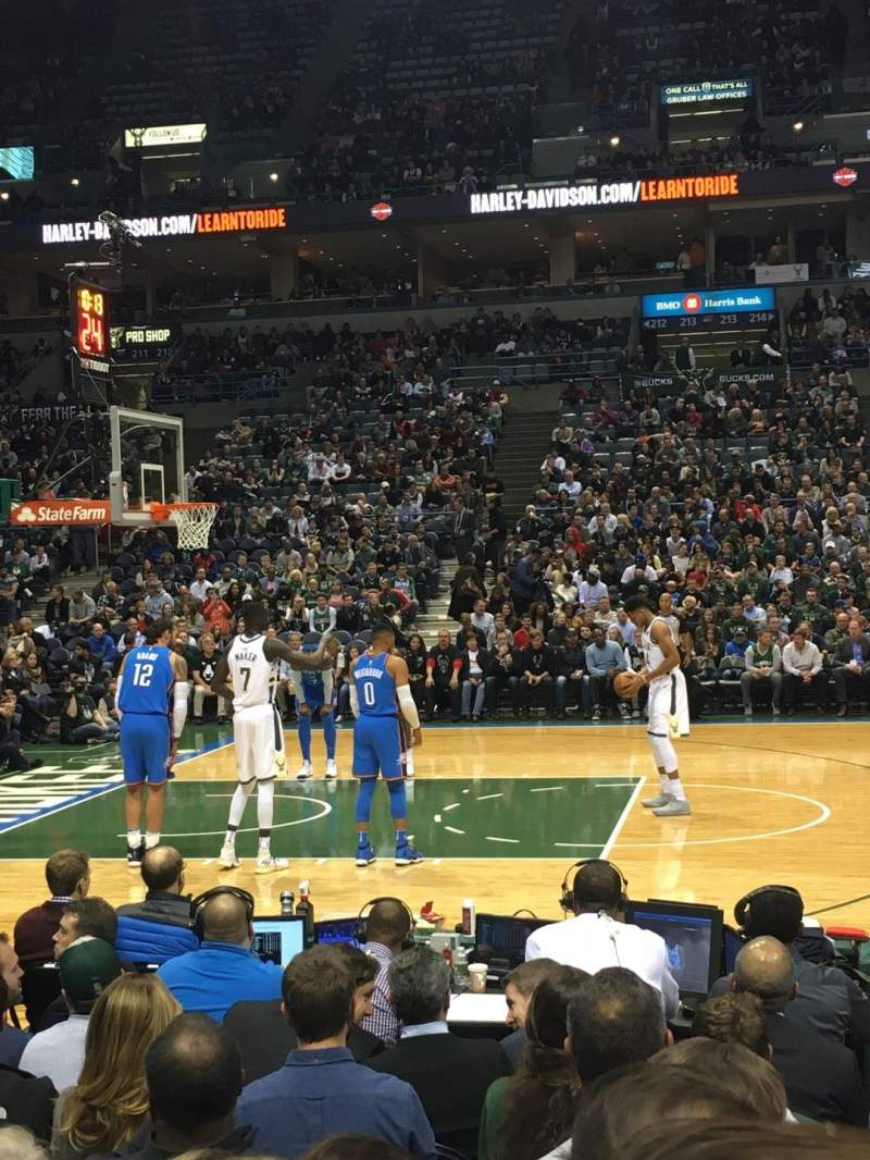 Seating view for BMO Harris Bradley Center Section 201 Row D Seat 5