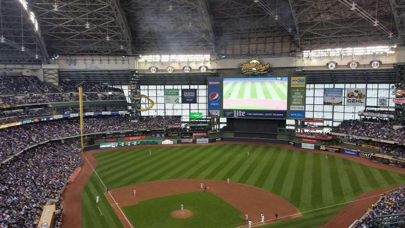 Seating view for Miller Park Section 419 Row 18 Seat 8