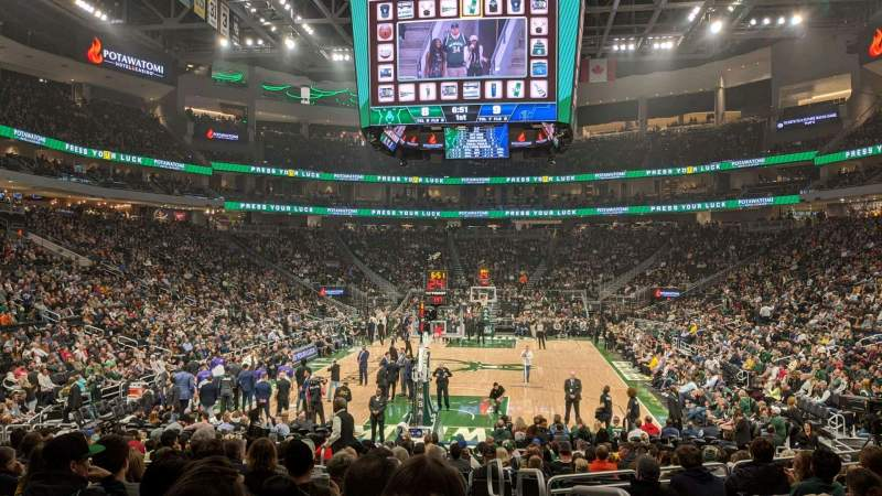 Seating view for Fiserv Forum Section 112 Row 13 Seat 1