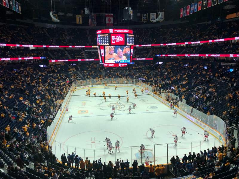 Seating view for Bridgestone Arena Section 317 Row A Seat 13