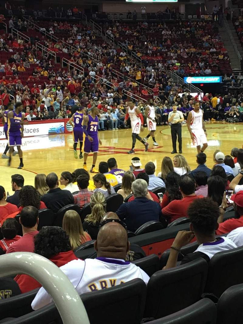 Seating view for Toyota Center Section 108 Row 5 Seat 1