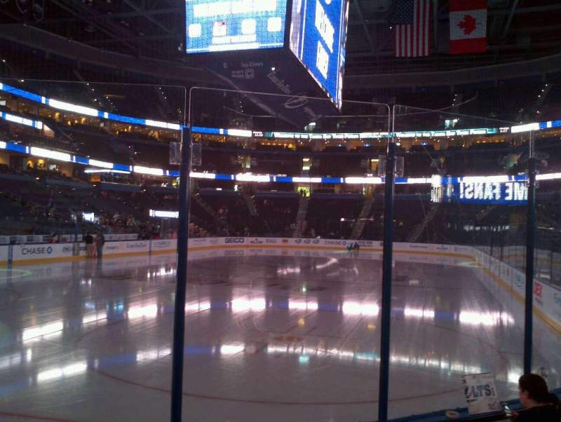 Seating view for Amalie Arena Section 122 Row A Seat 12