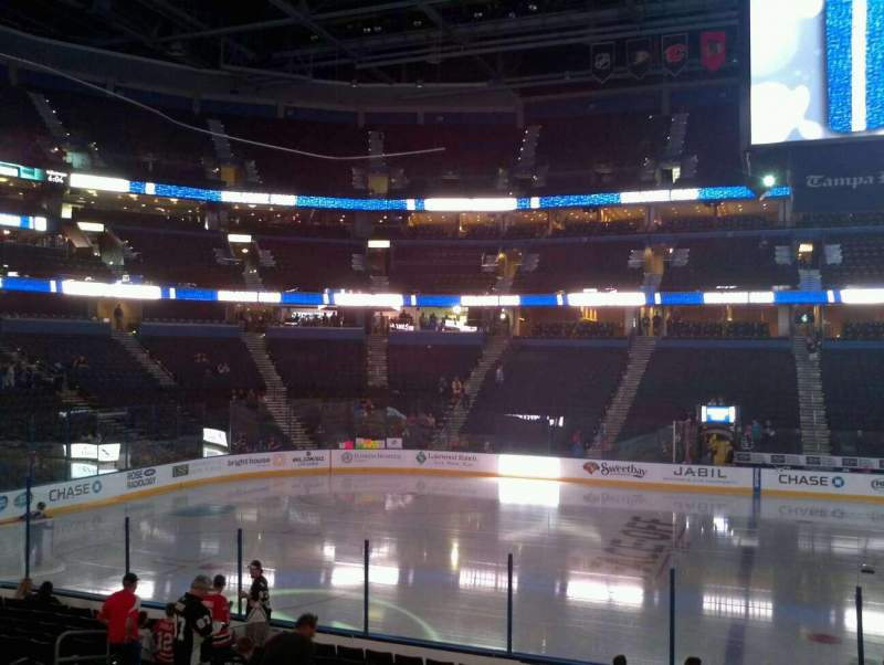 Seating view for Amalie Arena Section 117 Row G Seat 9