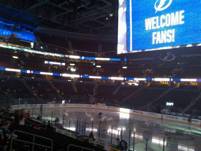 Seating view for Amalie Arena Section 115 Row S Seat 7