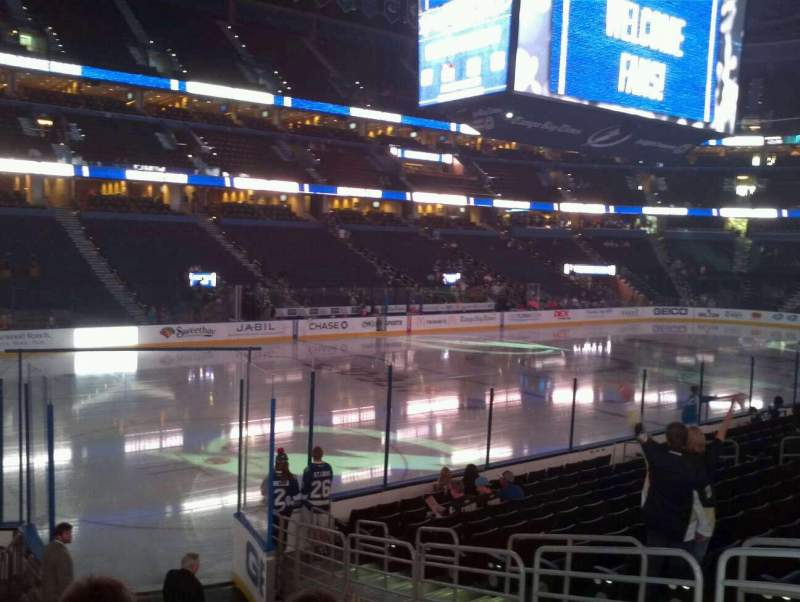 Seating view for Amalie Arena Section 120 Row M Seat 10