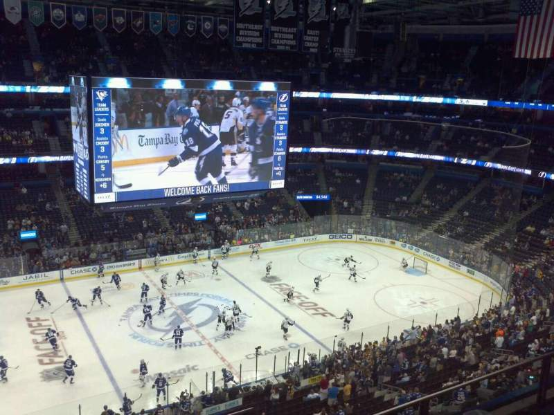 Seating view for Amalie Arena Section 319 Row C Seat 18