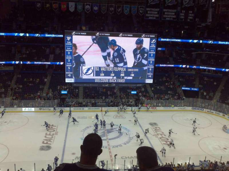 Seating view for Amalie Arena Section 316 Row C Seat 12