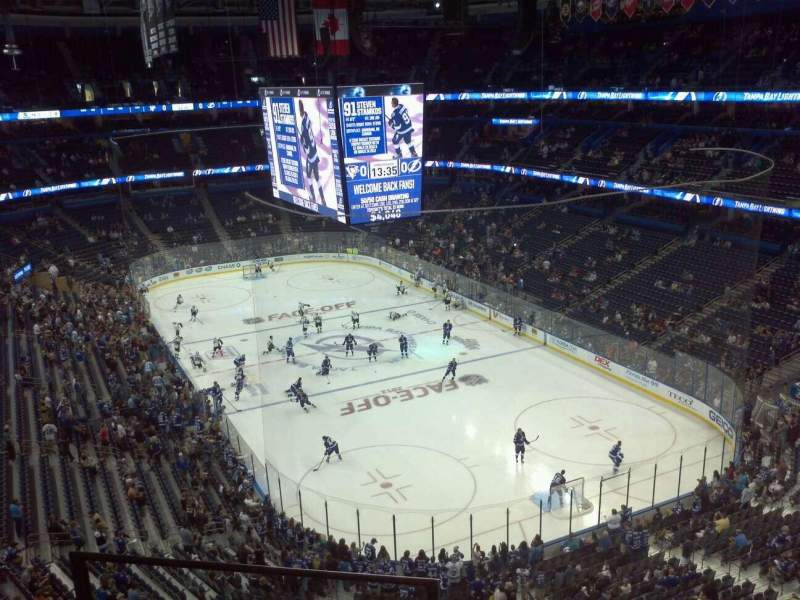 Seating view for Amalie Arena Section 325 Row C Seat 18