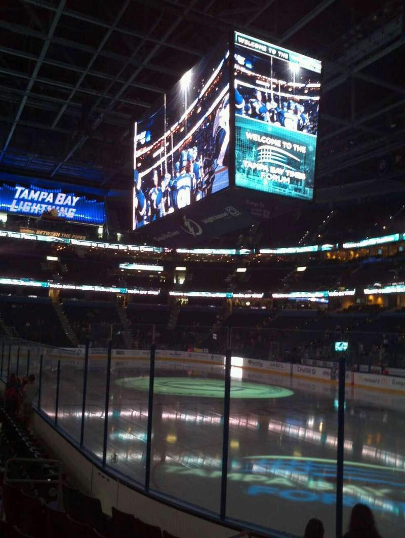 Seating view for Amalie Arena Section 112 Row H Seat 7