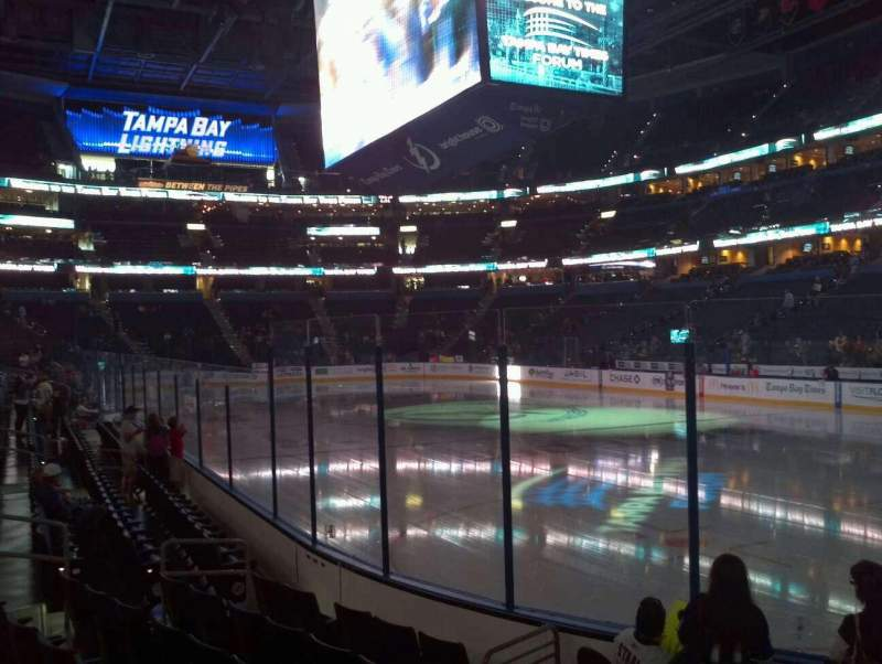 Seating view for Amalie Arena Section 112 Row E Seat 6