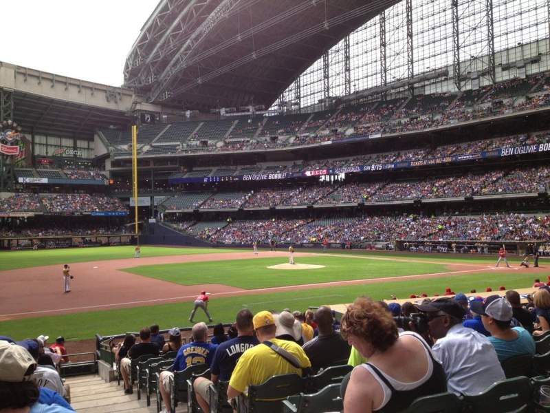 Seating view for Miller Park Section 124 Row 18 Seat 1