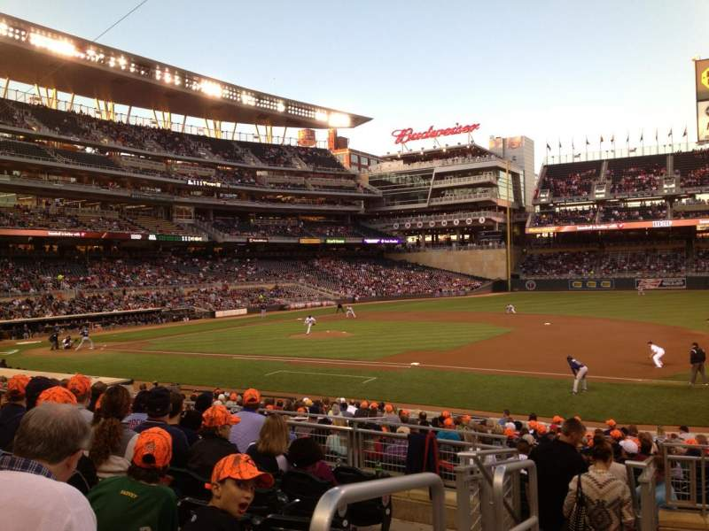 Seating view for Target Field Section 106 Row 8 Seat 16