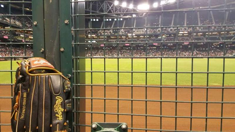 Seating view for Chase Field Section RFW Row 1C Seat 4