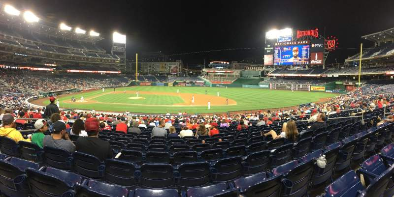 Seating view for Nationals Park Section 129 Row HH Seat 13