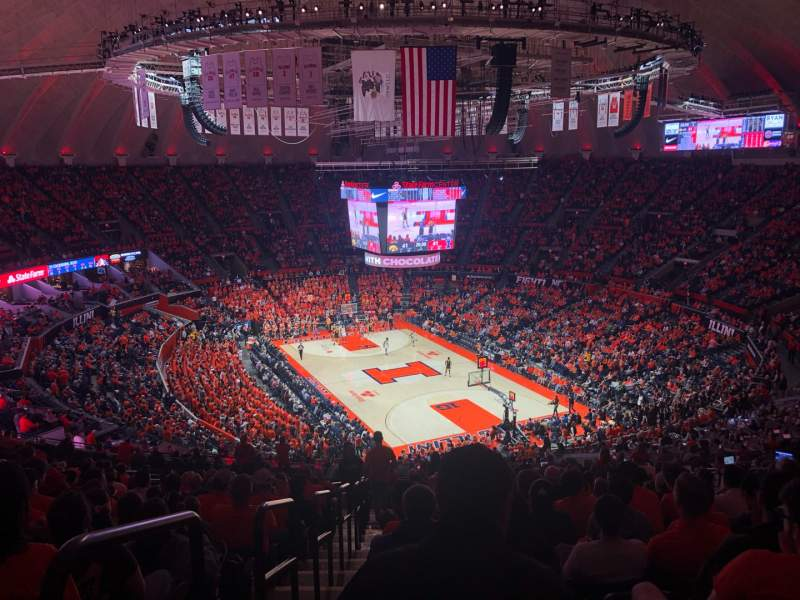 Seating view for State Farm Center Section 216 Row 21 Seat 13