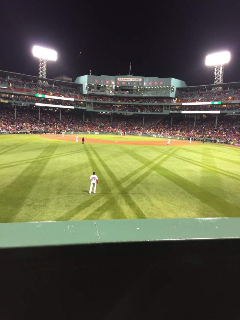 Seating view for Fenway Park Section Bleacher 34 Row 1 Seat 15