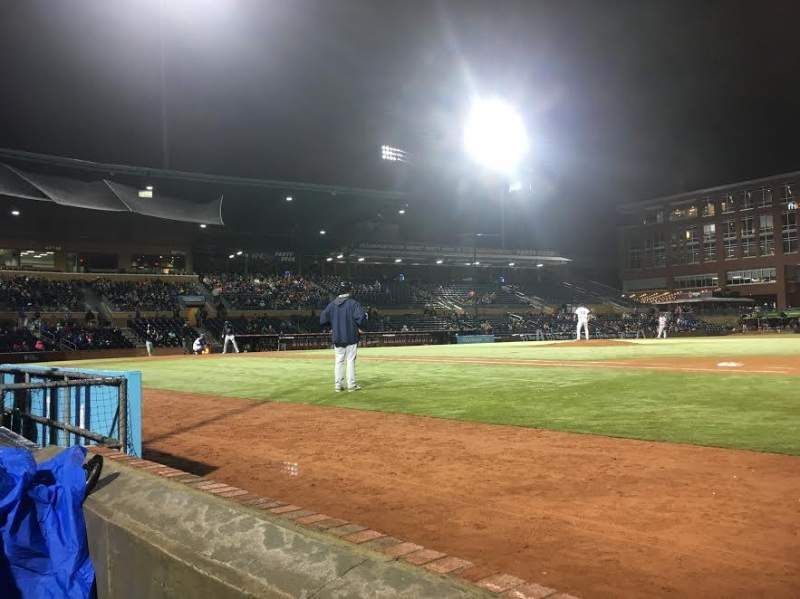 Seating view for Durham Bulls Athletic Park Section 114 Row A Seat 7 and 8
