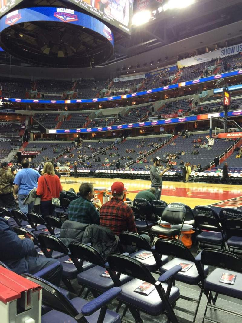 Seating view for Capital One Arena Section 102 Row A Seat 1
