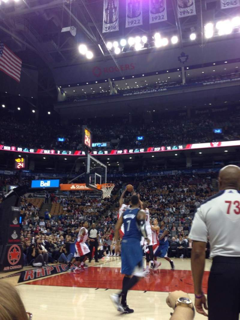 Seating view for Air Canada Centre Section Courtside Row B Seat 53