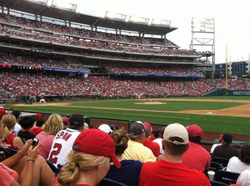 Seating view for Nationals Park Section 130 Row H Seat 1