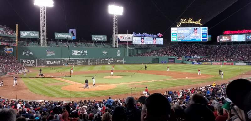 Seating view for Fenway Park Section Grandstand 19 Row 2 Seat 8