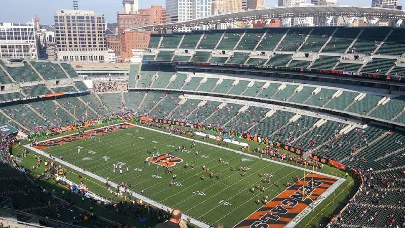 Seating view for Paul Brown Stadium Section 303 Row 19 Seat 1
