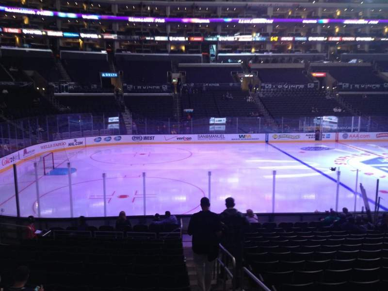 Seating view for Staples Center Section 103 Row 17 Seat 1