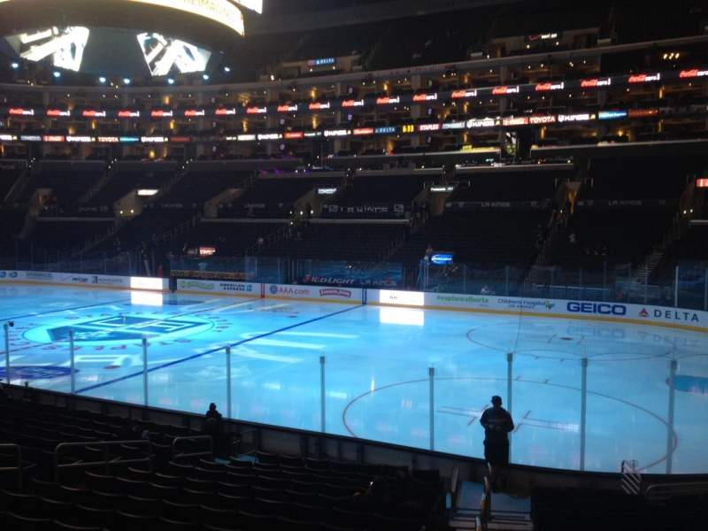 Seating view for Staples Center Section 109 Row 17 Seat 1
