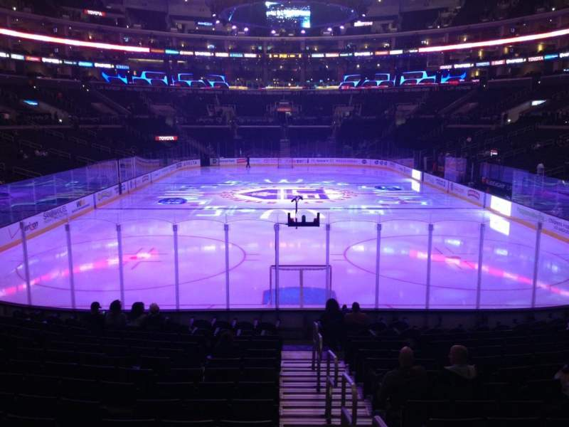 Seating view for Staples Center Section 107 Row 16 Seat 1