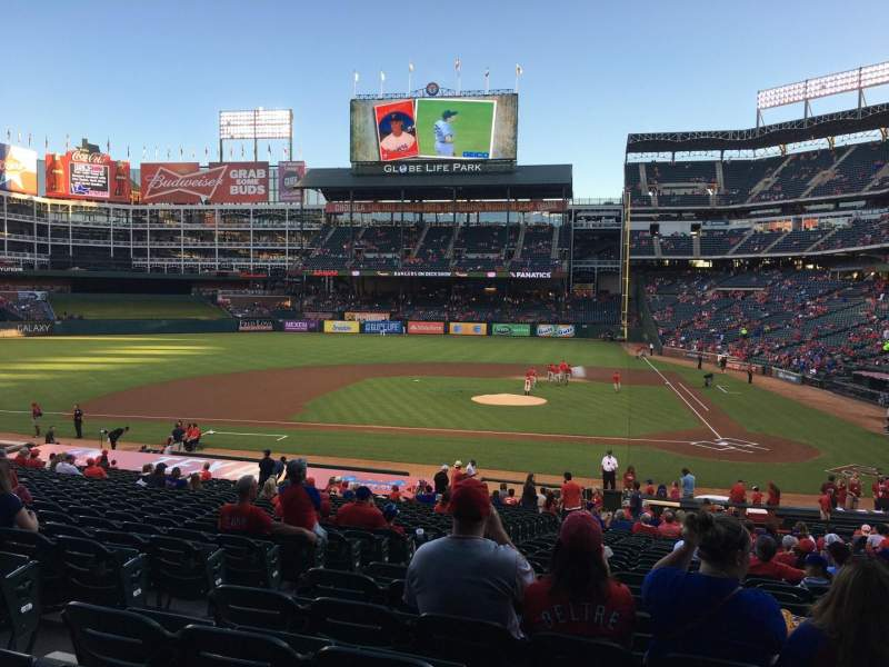 Seating view for Globe Life Park in Arlington Section 21 Row 29 Seat 5