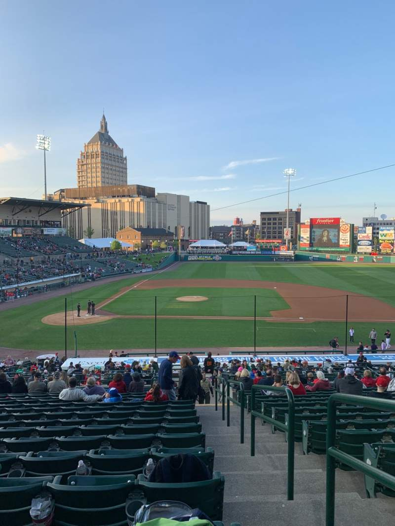 Seating view for Frontier Field Section 208 Row R Seat 12