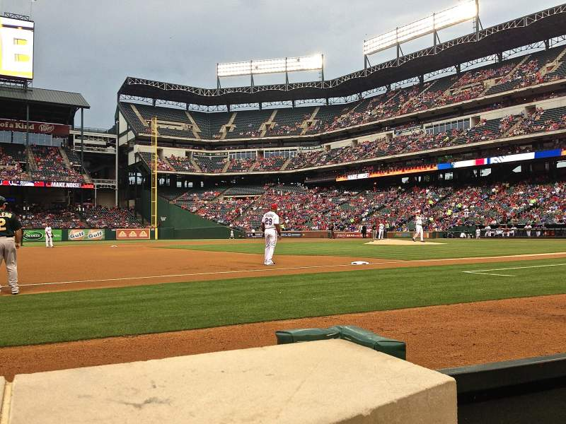 Seating view for Globe Life Park in Arlington Section Commissioner's Box 3rd Base Row 1 Seat 28