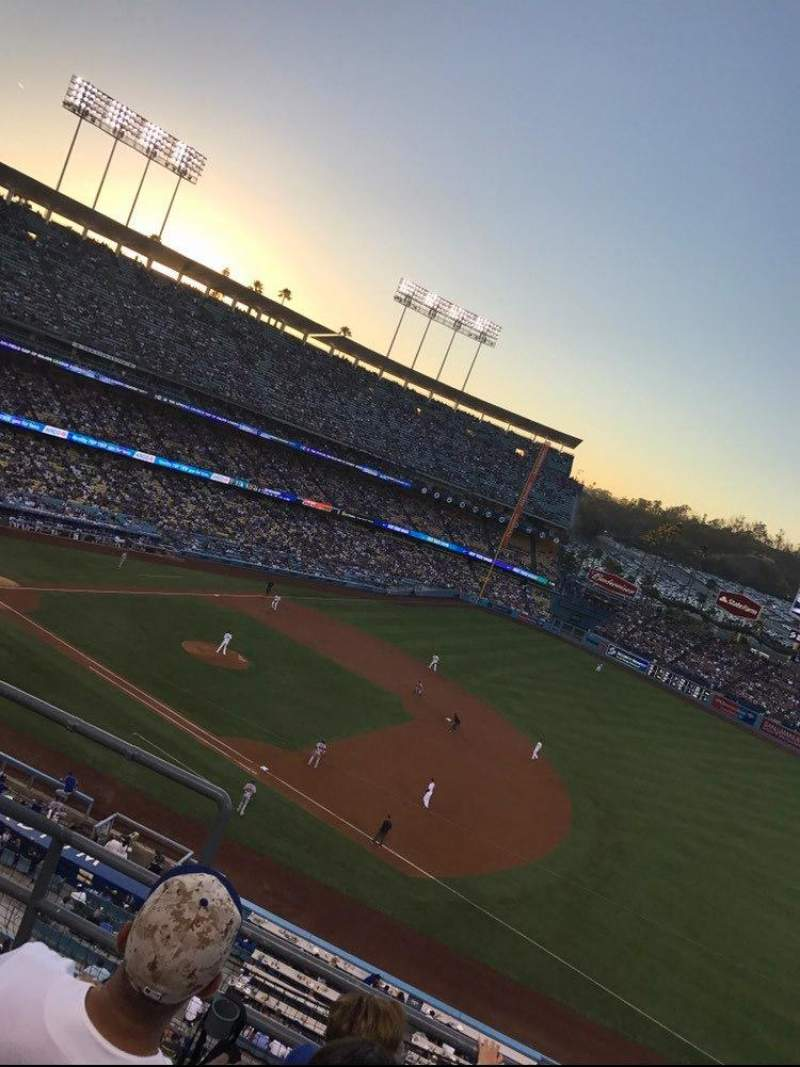 Seating view for Dodger Stadium Section 28RS Row D Seat 1 2 3