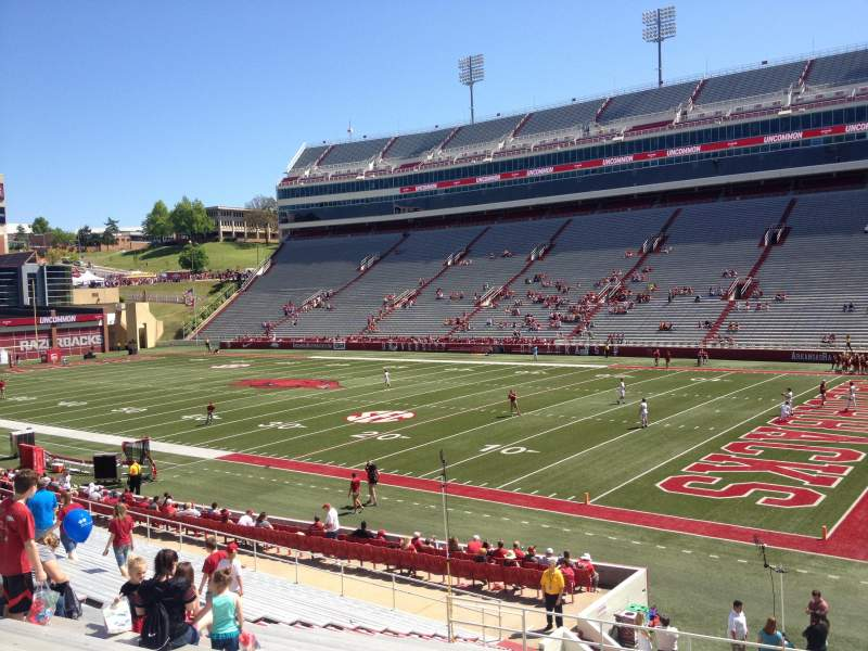 Seating view for Razorback Stadium Section 101 Row 22 Seat 20