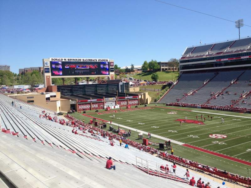 Seating view for Razorback Stadium Section 101 Row 44 Seat 20