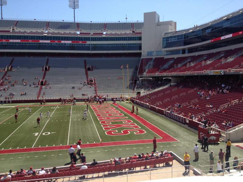 Seating view for Razorback Stadium Section 102 Row 22 Seat 20