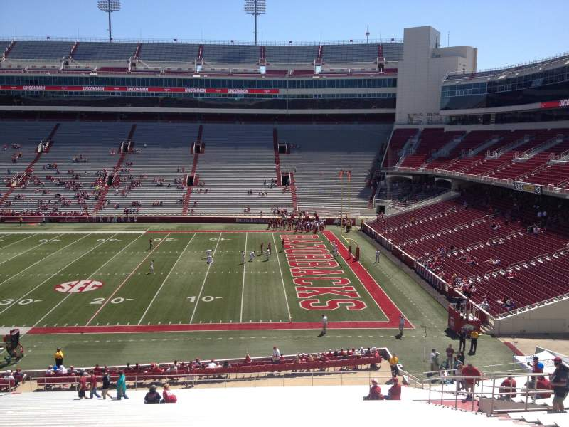 Seating view for Razorback Stadium Section 102 Row 44 Seat 20