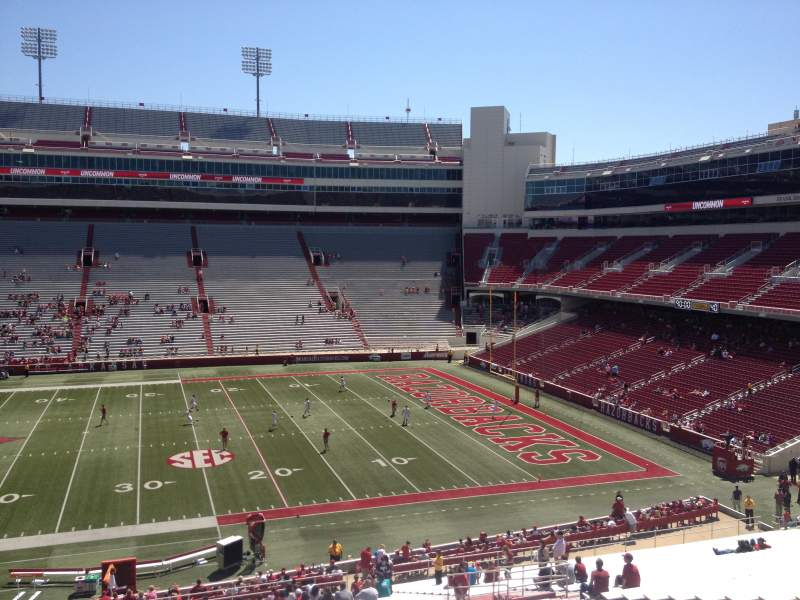 Seating view for Razorback Stadium Section 103 Row 44 Seat 20