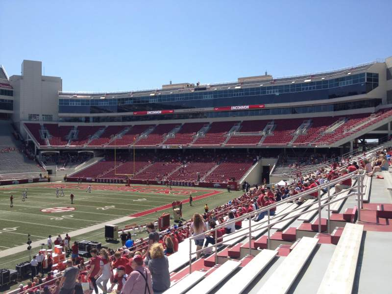 Seating view for Razorback Stadium Section 105 Row 22 Seat 20