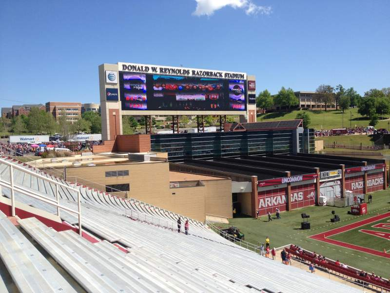 Seating view for Razorback Stadium Section 105 Row 44 Seat 20