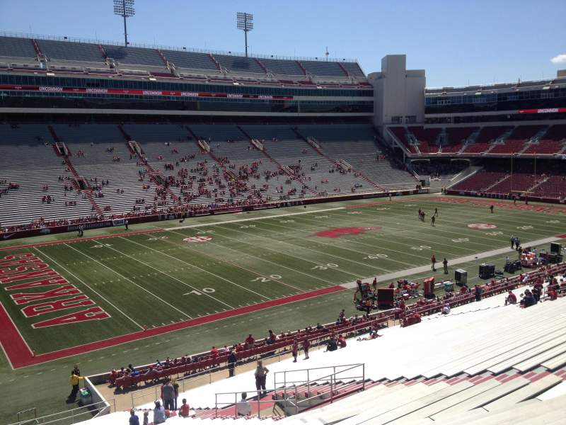 Seating view for Razorback Stadium Section 107 Row 44 Seat 20