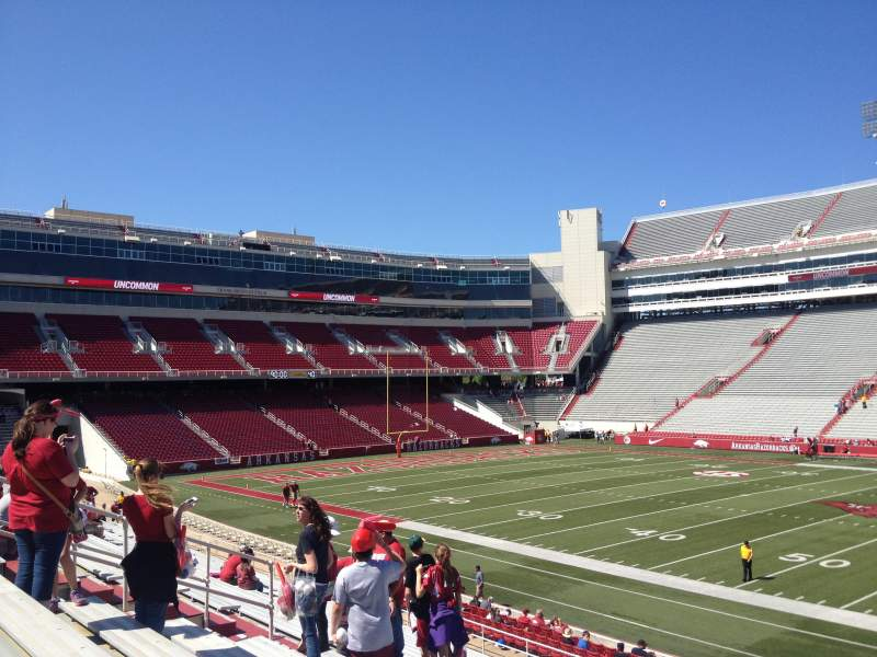 Seating view for Razorback Stadium Section 113 Row 22 Seat 20